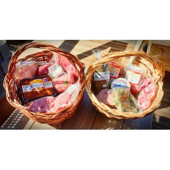 Colis de survie Lamorlette. Colis de viande de porc, boeuf, poulet, dinde, veau fromage, 10kg de viande