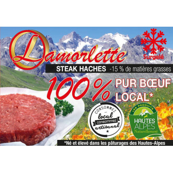 steak haché surgelé de la maison lamorlette, hautes-alpes naturellement, viande origine France
