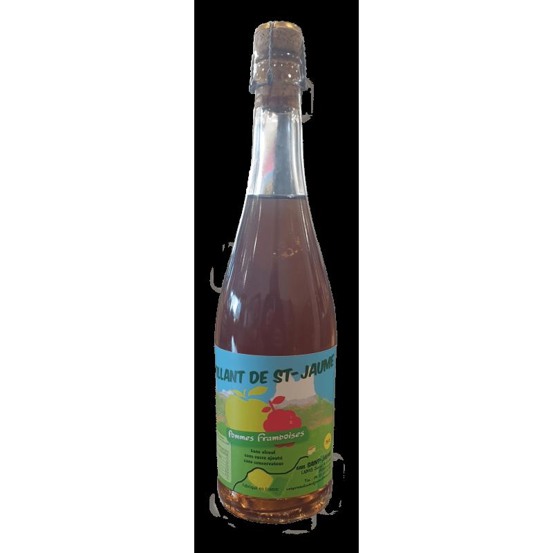 pétillant pomme framboise, jus de fruit pétillant à la pomme et la framboise de l'EARL Saint Jaume