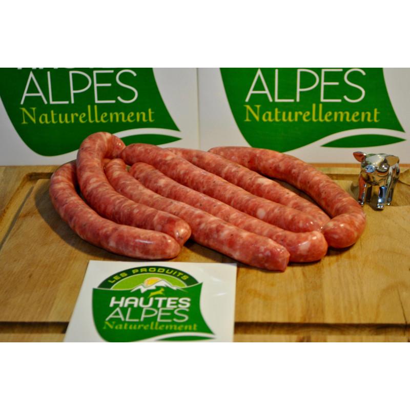 Chipolatas maison labellisés Hautes-Alpes Naturellement de la Maison Lamorlette.